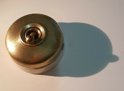 Brass porcelain antique round dolly light switch Victorian Deco Crabtree patent