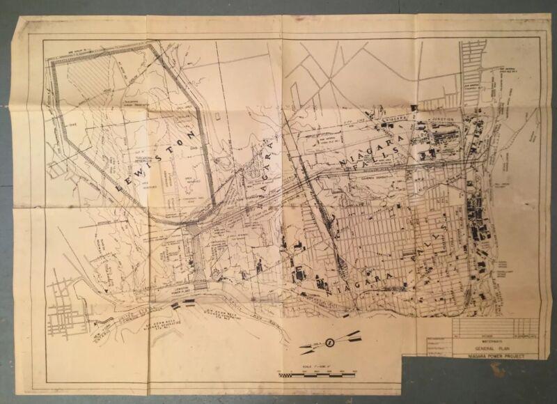 Vintage Niagara Falls Waterway Power Project Map Plan New York Travel Blueprint