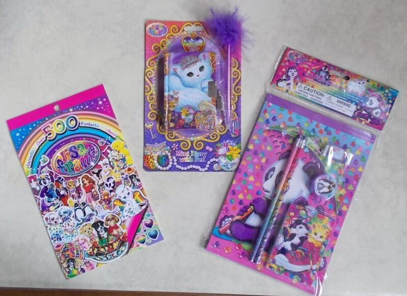 LISA FRANK SET 500 STICKERS - 6 PIECE SKETCHBOOK SET - MINI DIARY & PEN - NEW