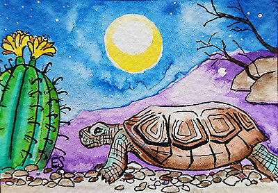 Turtle ACEO Tortoise Cactus Moon Southwest Watercolor Art Card Giclee Print ATC