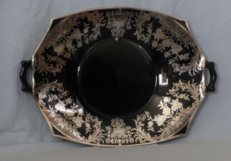Cambridge Glass - Black Amethyst Handled Silvered Decagon Platter - Art Deco