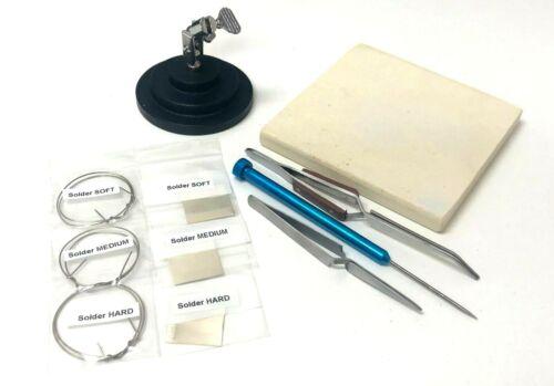 Jewelry Soldering Kit Ceramic Silver Solder Board Third Hand Pick Fiber Tweezers