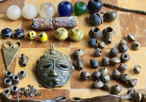 Antique African Trade Beads Ivory Coast Pendant Venetian Dutch Glass Necklace