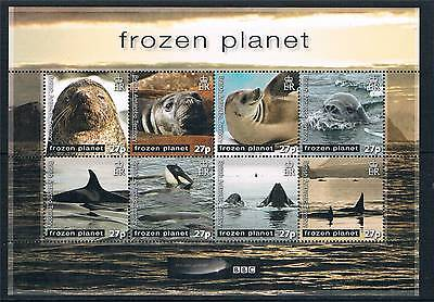 British Antarctic 2011 Frozen Planet Seals/Whales 8v sheet MNH