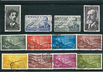 ESPAGNE-SPAIN-POSTE AERIENNE-lot de 12 timbres oblitérés                       $