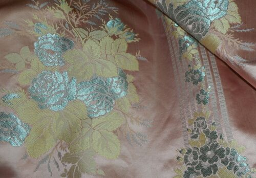 Vintage Roses Floral Silk Brocade Jacquard Fabric ~ Rose Blue Yellow