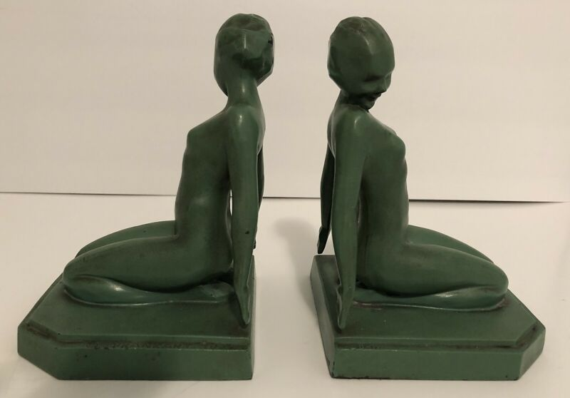 ANTIQUE ORIGINAL 1927 FRANKART ART DECO NUDE NYMPH LADY WOMAN STATUE BOOKENDS