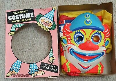 Vintage COSTUME & MASK Collegeville Clown Halloween Small 121-058 Flame Retarded