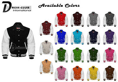 Men's Varsity Jacket Genuine Leather and Wool Letterman Collar Fashion Jackets