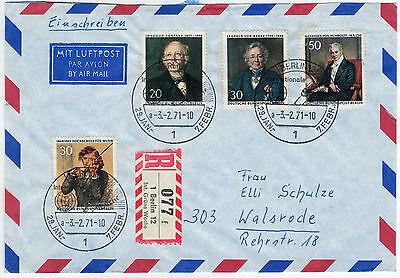 """Berlin 1971, Sonder-R-Zettel """"Int. Grüne Woche"""" auf Lupo-Umschlag"""