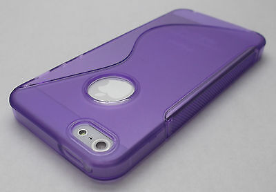 Apple Iphone 5 Shell (Purple Apple iPhone 5 Soft Rubber Gel Case Cover Skin Shell iPhone5 i phone 5s)