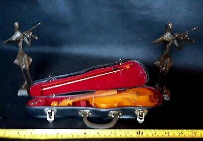 Vintage Miniature Violin & Case + Violinist Art Statue Figurines Display Set