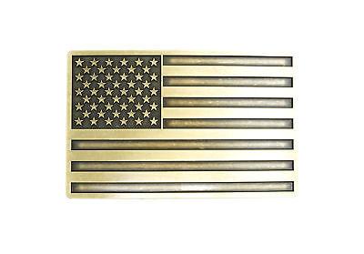 Patriotic American USA Flag Bronze Plated Vintage Finish Metal Belt (Flag Metal Belt Buckle)