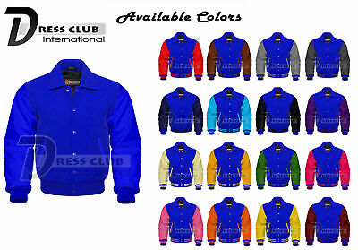 Men's Varsity Jackets Genuine Leather and Wool Letterman College Collard Jackets