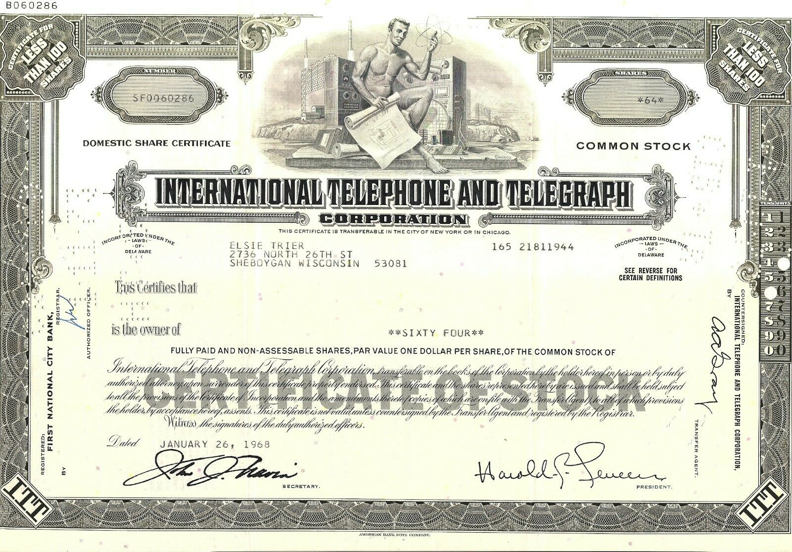 Stock Certificate International Telephone Telegraph Corp. 1968-1972 Less Than - $1.50