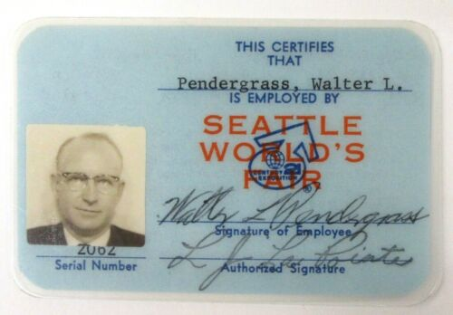 rare FAIR DEPARTMENT SUPERVISOR Blue ID CARD 1962 WORLDS FAIR Century 21 Seattle