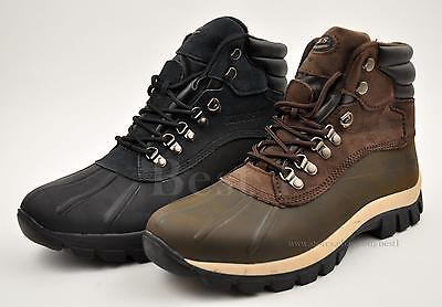 Kingshow Mens Genuine Leather Winter Snow Work Boots Shoes Waterproof 0705