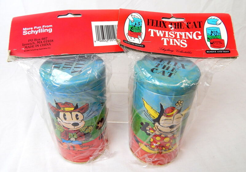 1N Pair Of FELIX THE CAT Twisting Tins New In Package Schylling 1995 SEALED!