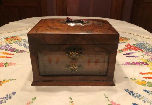 Victorian Figured Walnut Jewelry Casket Box 2 Drawers Beveled Glass Drop Front