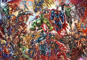 MARVEL & DC COMICS CHARACTER POSTER PRINT - WALL ART - BUY 2 GET 1 FREE