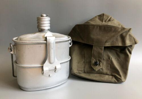 USSR Soviet Army Military Mess Kit, Metal Flask & Kettle, 3 pcs set Khaki bag