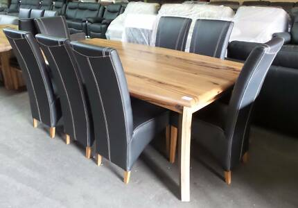 9 PCE MARRI DINING SUITE WITH HIGH BACK BLACK LEATHER CHAIRS