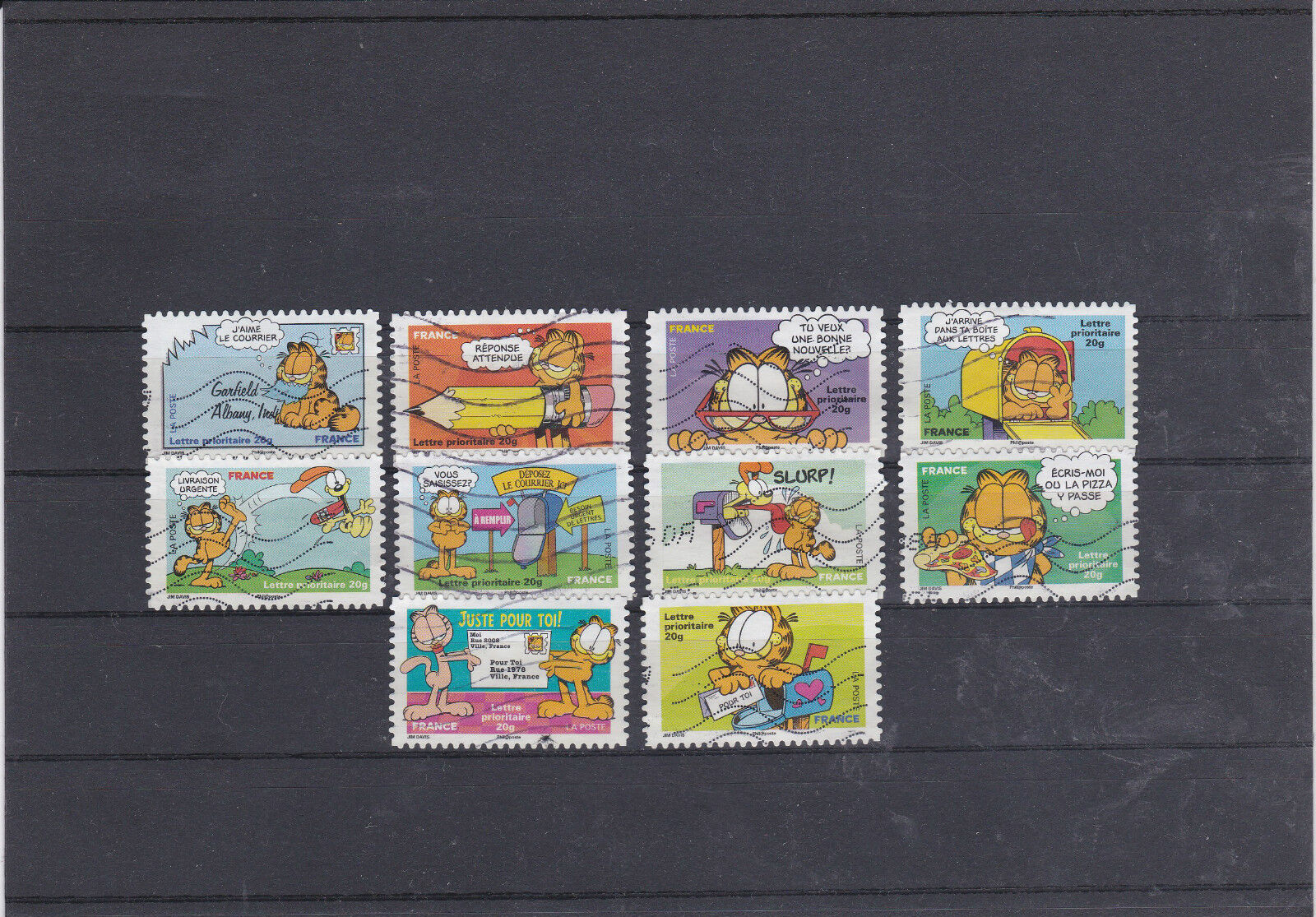 france 2008 sourires chat garfield serie complete de 10 timbres oblitere