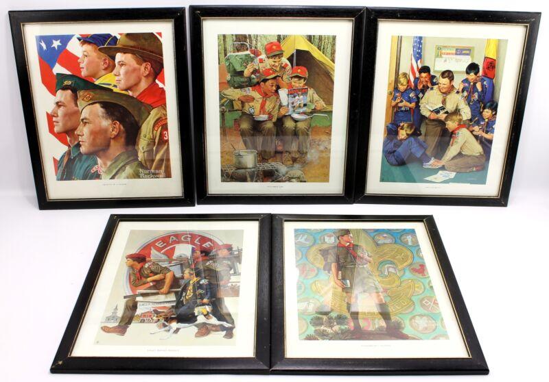 """Vintage Norman Rockwell 14""""x11"""" Framed Boy Scouts BSA Prints Leader Eagle"""