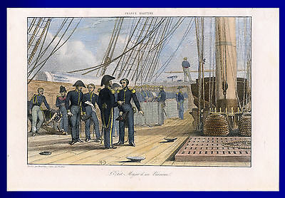 Marine Kriegsschiff Stahlstich 1800 koloriert - L'Etat Major d'un Vaisseau
