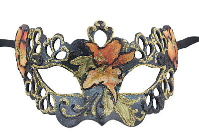Mask from Venice Colombine Tutti Fruiti Black Florale in Paper Mache 2387
