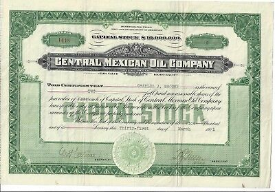 Central Mexican Oil Company    1921 Common Stock Certificate