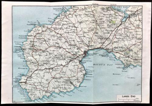 Rare Antique Color Map : LANDS END, ENGLAND : 100% AUTHENTIC  ORIGINAL 1930