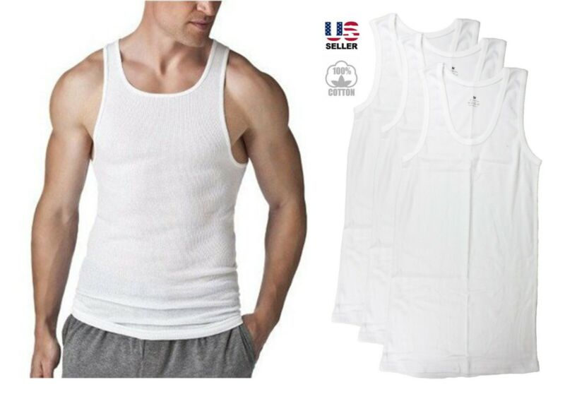 9 Mens White Tank Top 100/% Cotton A-Shirt Lot Wife Beater Ribbed Undershirt S