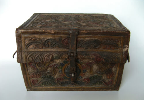 Spanish Colonial Style -  Hand Tooled Leather Petaca - Document box