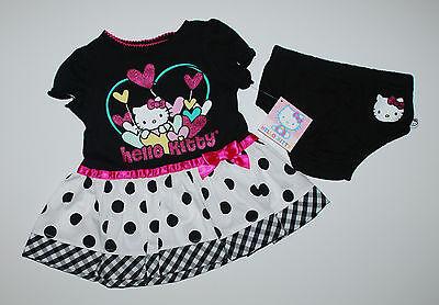 USA~Kleid~HELLO KITTY~62-68~Sommerkleid~Katze~Babykleid~Blumen~Kleidchen~schwarz