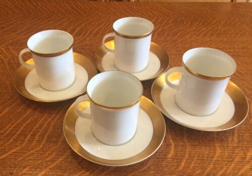 4 ROSENTHAL BONE CHINA  ASCOT PATTERN  COFFEE CUPS AND SAUCERS