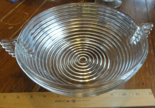 Vintage Anchor Hocking Manhattan Bowl Depression Glass 1930's Ribbed 11 in
