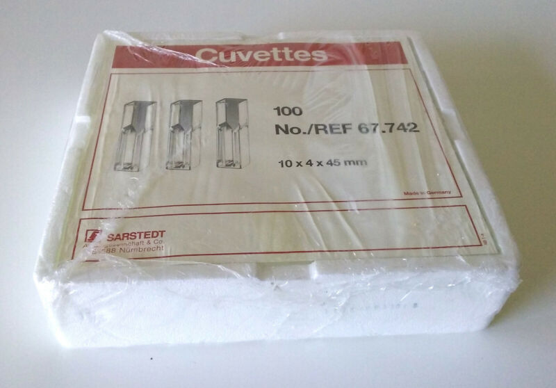Rack of 100 Sarstedt 67.742 Semi-micro cuvettes For Spectrophotometer 10x4x45mm