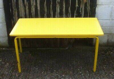 VINTAGE SCHOOLE TABLE DESK STACKABLE METAL LEGS FRAME WOODEN TOP