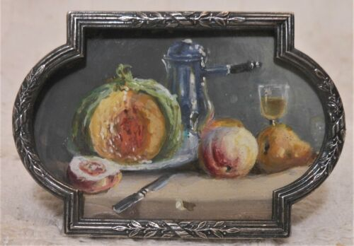 Amazing Antique Miniature Water Color  Still Life In Continental Silver Frame
