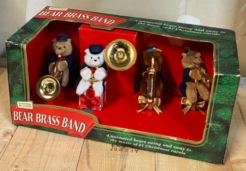 1995 Mr Christmas BEAR BRASS BAND Animated Musical Decoration 4 Musicians NIB