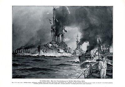 Die türkische Flotte XL Kunstdruck 1912 Türkei Marine Kriegsschiff Flagge Soldat