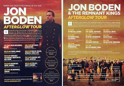 JON BODEN 2018 AFTERGLOW TOUR FLYERS X 2  - APRIL MAY 2018 TOUR - BELLOWHEAD