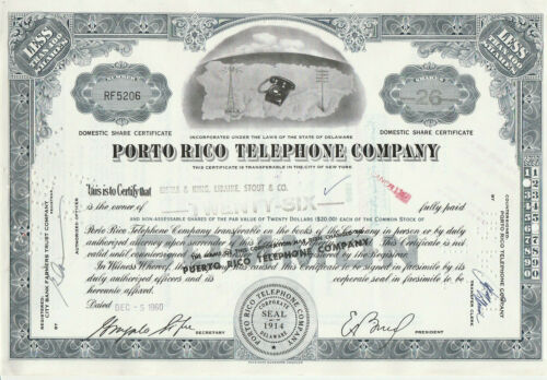 Porto Rico Telephone Company Stock Certificate Puerto