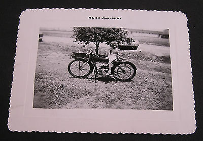"""GREAT EARLY MOTORCYCLE PICTURE, YOUNG GIRL SITTING SAYS  """" BIG SHOT """"  1949"""