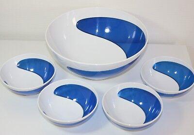 G2 FOR YOU Salatschüssel Salatschale Set 5-teilig blau / weiß Kunststoff NEU!!! gebraucht kaufen  Oberursel