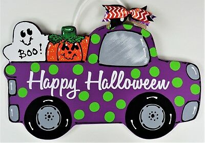 HAPPY HALLOWEEN Vintage TRUCK SIGN w/Polka Dots Wall Art Door Hanger Fall Plaque](Happy Halloween Door Sign)