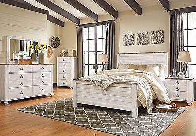 Traditional White & Brown Finish 5p Bedroom Set Furniture w/ King Panel Bed IA1S