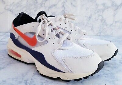 Nike Air Max 93 Men's Size 9 White/Habanero Red Shoes 306551 102  for sale  Shipping to Canada