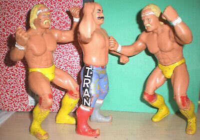 ( LOT OF 3 ) ( 2 ) HULK HOGAN + IRON SHIEK VINTAGE WRESTLING FIGURES 1984 WWF